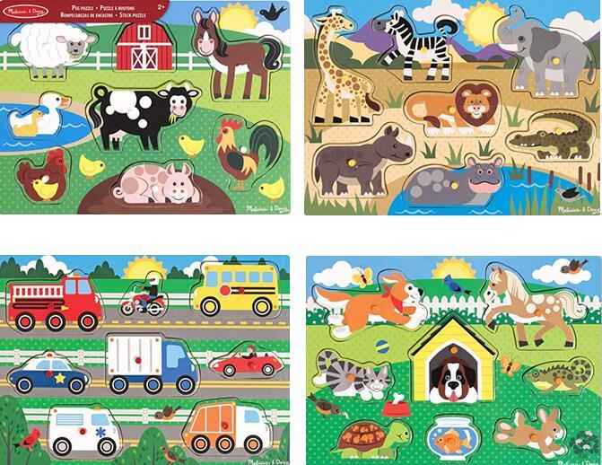 Melissa & Doug Wooden Toy Peg Puzzle - Choice of Farm Animals, Safari, Vehicles, Pets £4.99 (+£4.49 Non Prime) Amazon
