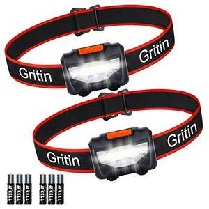 LED Head Torch, [2 Pack] Gritin COB Headlamp Super Bright Headlight £6.79(+£4.49 NP) @ Sold by Beikell Store and Fulfilled by Amazon.