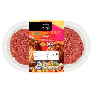 Morrisons The Best 2 x 6oz British Chuck Steak Burgers 340g £3 or 2 for £5