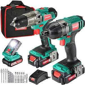 Cordless Drill Kit, Drill Driver and Impact Driver 160Nm, 2X1.5Ah Batteries, 21+1LED Light £67.99 Sold by JJmouse_toolkit & FB Amazon