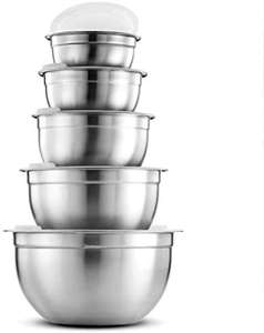 Premium Stainless Steel Mixing Bowls with Airtight Lids (Set of 5) £10.61 (Non prime +£4.49) @ Sold by YH-Goods UK and Fulfilled by Amazon.
