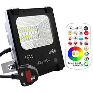 Jayool 15W LED colour changing floodlight with remote control, IP66 waterproof for £16.14 Prime delivered (+£4.49) @ Briwarm / Amazon