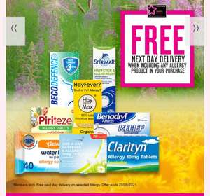 Buy 1 get 2nd 1/2 price on selected Allergy & Allergy Eye,Free Next Day Delivery For Members Only +Free Click and collect @ Superdrug