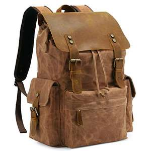 """Kattee vintage-style waxed canvas backpack with leather flap - fits 15.6"""" laptop in sleeve for £25.89 delivered @ Bagmine-EU / Amazon EU"""