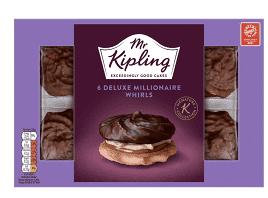 Mr Kipling Deluxe Millionaire Whirls 6 Pack - £1.12 (Clubcard price) @Tesco