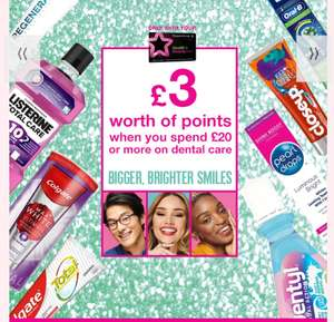 Get 300 Points when Spend £20 or more on Dental care,BetterThen 1/2 Price On Selected,Price Start From 89p +Free Click & collect @ Superdrug