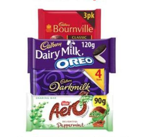 Various Cadbury's Dairy Milk/Bournville/Aero Chocolates 90g/120g/ 4 pack 2 for £1 @ Farmfoods