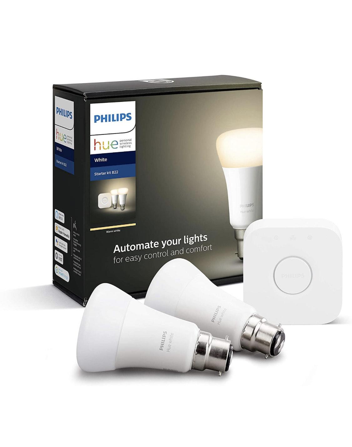 Philips Hue White Starter Kit: Smart Bulb Twin Pack LED [B22 Bayonet Cap] Including Bridge £28.75 Amazon