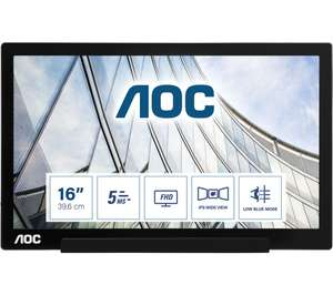 """AOC I1601FWUX Full HD 16"""" LED Portable Monitor - Black £109 (Delivered / Click & Collect) @ Currys PC World"""
