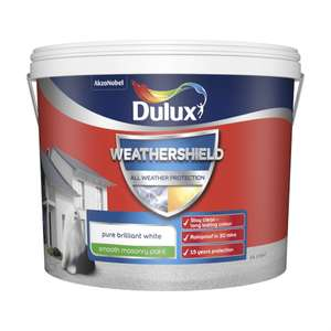 Dulux Weathershield Smooth Masonry Paint - Pure Brilliant White - 10L x 2 £52.50 @ Homebase Free click and collect