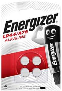 Energizer LR44/A76 Alkaline Batteries Pack of 4 - £1.84 Prime + £4.49 Non Prime Sold by Battery_Volt Fulfilled by Amazon