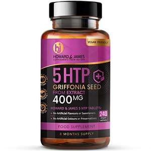 5HTP 400mg Griffonia Seed Extract 240 Vegan Tablets 8m Supply £6.95 (+£4.49 nonPrime) Sold by supplementstoreuk & Fulfilled by Amazon