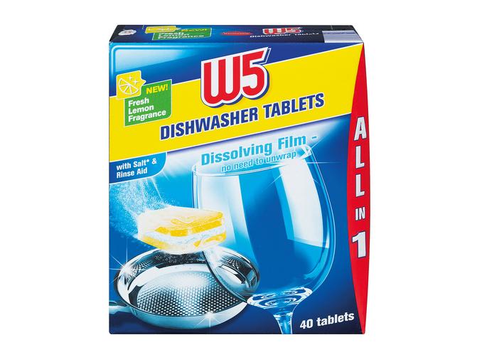 W5 Lidl All-in-1 Dishwasher Tablets (40 pack, 5p/tablet) for £1.99 @ Lidl