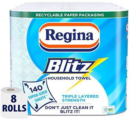 Regina Blitz Household Towel, 8 Rolls, 560 Super-Sized Sheets, Triple Layered Strength £10 (£4.49 p&p non prime) voucher and s&s £7 @ Amazon