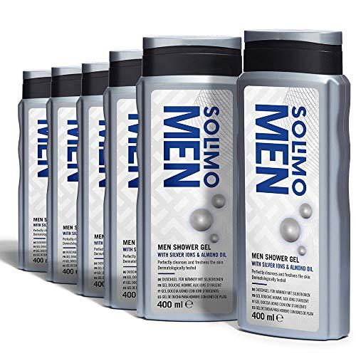 Amazon Brand - Solimo Men Shower Gel with Silver Ions & Almond Oil (6x400 ml) Free Prime p&p or £4.49 Non-Prime p&p @ Amazon