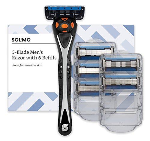 Amazon Brand - Solimo Male 5 blade men's razor with 6 refills £6.36 (Free Prime p&p or £4.49 Non-Prime p&p) @ Amazon