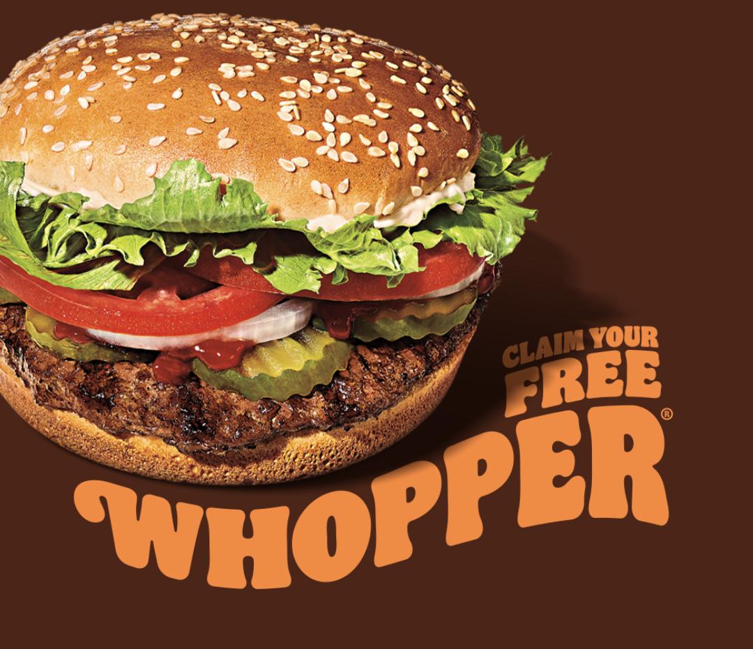 Free Whopper (Original or Plant Based) Via App @ Burger King