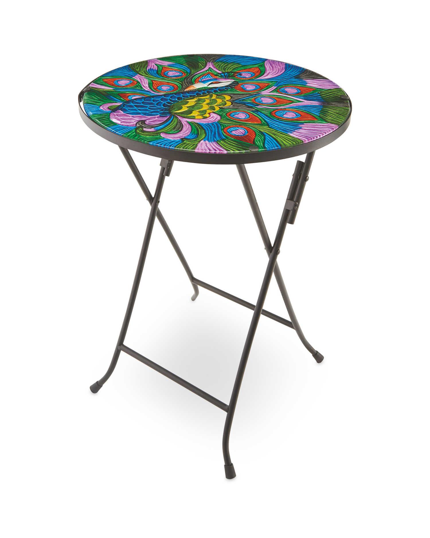 Decorative Peacock Glass Table - £12.99 / £15.94 delivered @ Aldi