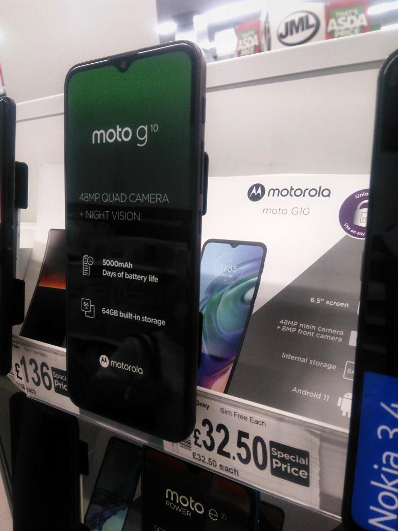 Motorola Moto G10 64GB 4GB SIM Free - £32.50 @ Asda In Store Farnborough