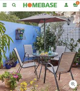 Andorra 4 Seater Garden Dining Set with Parasol £120 (Free Collection) @ Homebase