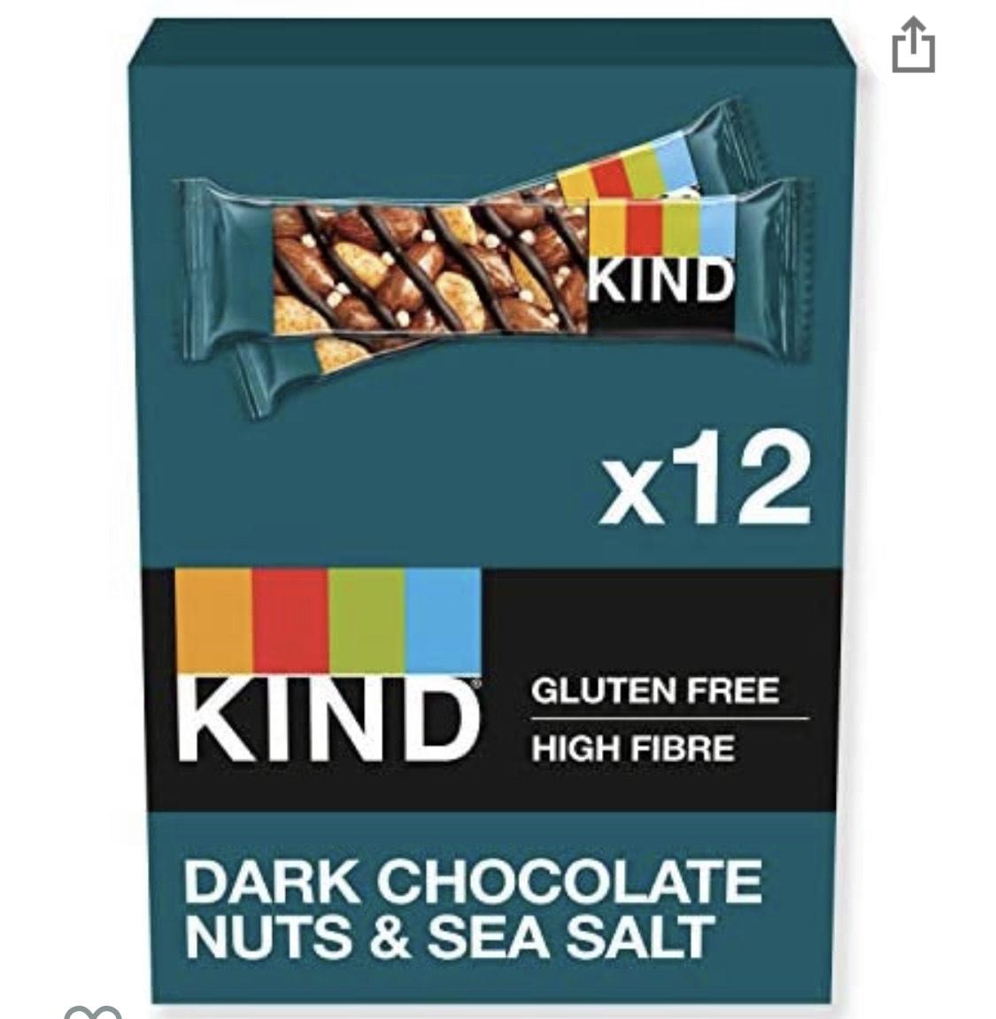 KIND Bars, Healthy Gluten Free & Low Calorie Snack Bars, Dark Chocolate Nuts & Sea Salt, 12 Bars £7.19 Prime (+£4.49 Non Prime) @ Amazon
