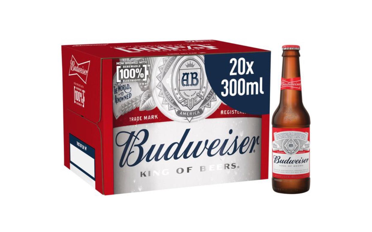 Budweiser Lager Beer Bottles 20 x 300ml £12 @ Morrisons