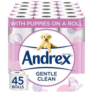 Andrex Toilet Roll - Gentle Clean Toilet Paper, 45 Rolls £16.88 (£15.19 with subscribe & save / +£4.49 non-prime) @ Amazon