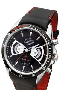 Accurist Accurist Black and Silver Detail Chronograph Dial Black Leather and Red Detail Strap Mens Watch £60 (Free Click & Collect) @ Very