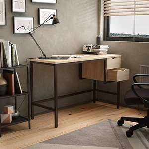 Office Hippo Office Desk With 2 Drawers, Chalked Oak or White (120 x 48 x 77 cm) - £68.99 delivered @ Amazon