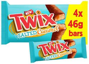 Twix Chocolate Biscuit Bars with Salted Caramel Multipack, 4 Bars of 46g - 88p Prime / +£4.49 non Prime @ Amazon