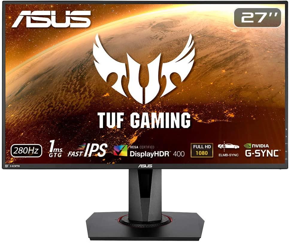 ASUS TUF Gaming VG279QM HDR Gaming Monitor - 27 Inch Full HD (1920 x 1080), Fast IPS, 280Hz - £299 @ Amazon
