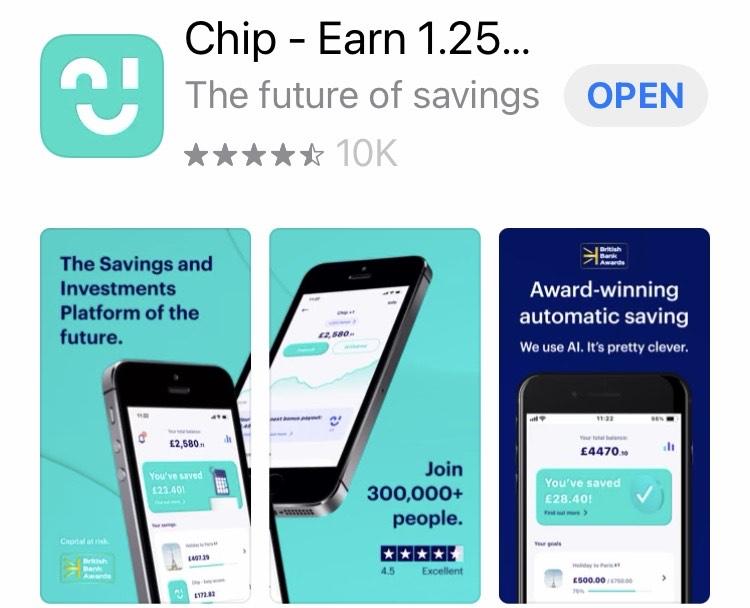 Chip - Earn 1.25% on savings - free @ iOS App Store