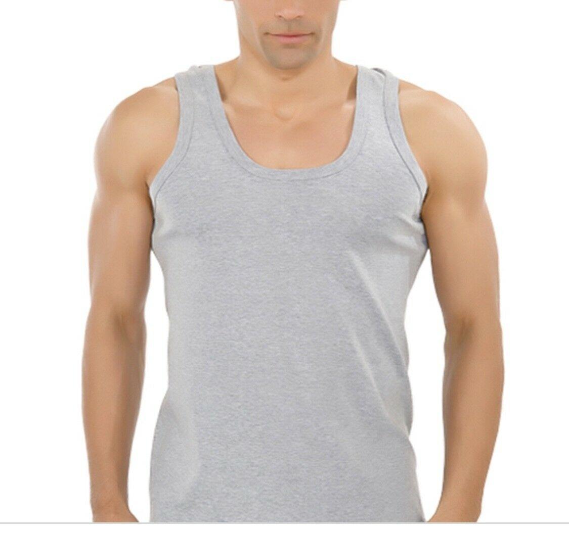 Mens Vest 100% Cotton Tank Top Grey S - £1.79 delivered @ 15underwearworld / eBay