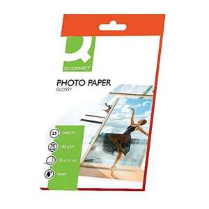 Q Connect 100x150mm 180gsm Photo Gloss Paper (Pack of 25) 99p (+£4.49 non prime) @ Amazon