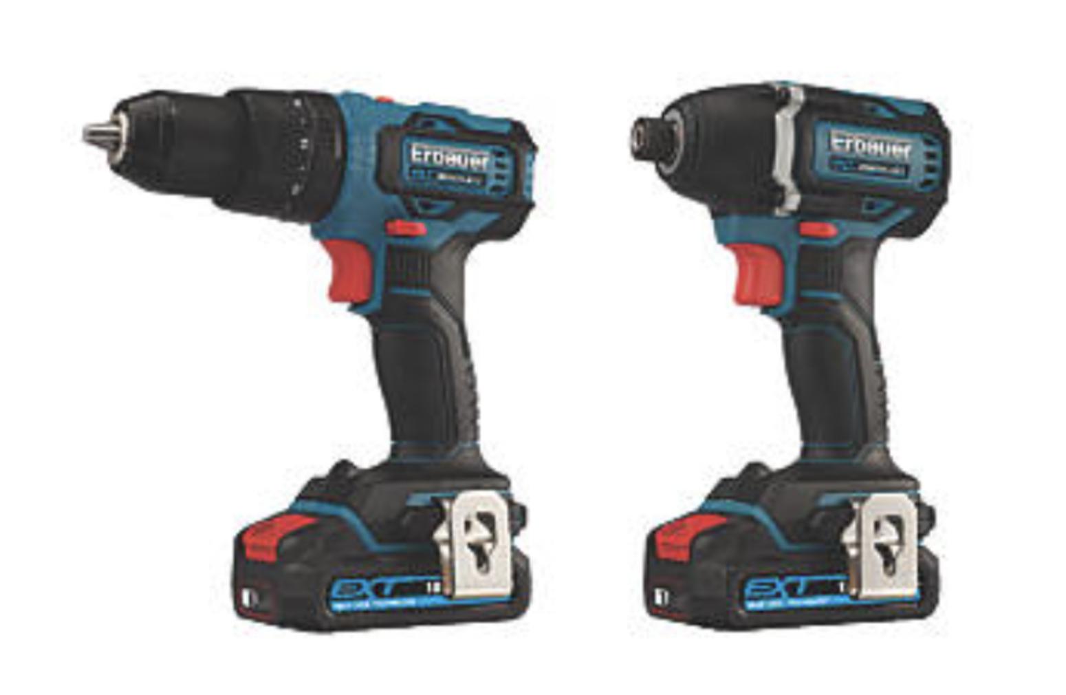 ERBAUER EID18-LI / ECD18-LI-2 18V 2.0AH LI-ION EXT Brushless Cordless Twin Pack - £129.99 @ Screwfix