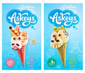 Askeys Pink or Green Waffle Cones 10 Pack - £1 (Clubcard) @ Tesco