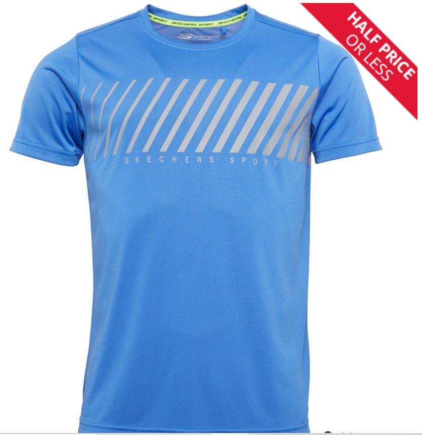 SKECHERS Mens Lars Sports Print T-Shirt Blue £7.99 + £4.99 delivery at MandM Direct