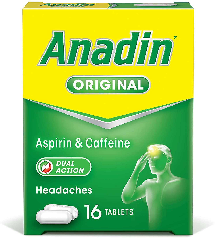 Anadin Original Pain Relief Tablets - Aspirin & Caffeine Headache Tablets - Pack of 16 £1 @ Amazon (£4.49 p&p non prime)