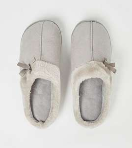 Grey Suede Effect Cup Sole Mule Slippers (S or M) - £3 - (Free Click & Collect) @ George