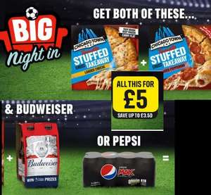 Iceland New big match bundle - two Chicago Town stuffed crust pizzas, 8 x Pepsi MAX or Budweiser Lager Beer Bottles 4 x 300ml £5 @ Iceland