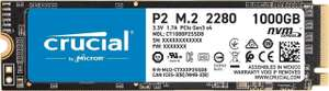 Crucial P2 Internal SSD, Up to 2400 MB/s (3D NAND, NVMe, PCIe, M.2) 1 TB £67.99 or 500GB for £34.99 Amazon Prime Exclusive
