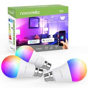 3 x Novostella B22 Smart Bulb RGBCW, 810lm 9W £11.99 + apply £5 voucher Sold by Ustellar-EU and Fulfilled by Amazon Prime Exclusive