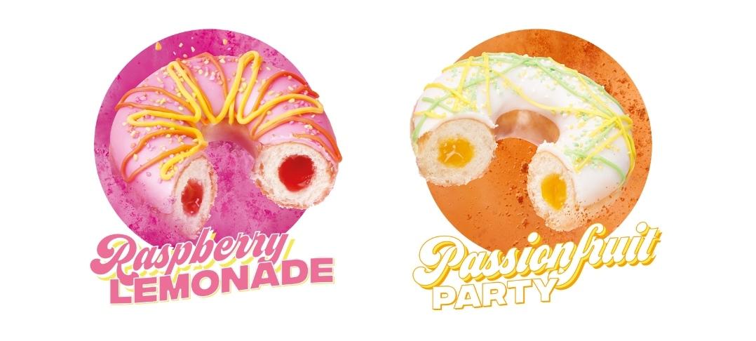 Buy one get one free on Krispy Kreme Raspberry Lemonade and Passionfruit Party Donuts on the 22nd of June @ Krispy Kreme Stores