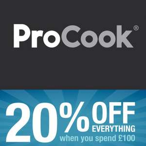 20% off Everything When Spending £100 + Free Shipping @ Pro Cook