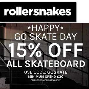 15% off £30+ Spends On Skateboarding Items (Includes Sale Items) @ Rollersnakes
