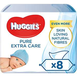 Huggies Pure Extra Care Baby Wipes - 99 Percent Water, Sensitive, 8 packs, 56 Count (448 Wet Wipes Total) £4.89 (Prime Exclusive) @ Amazon