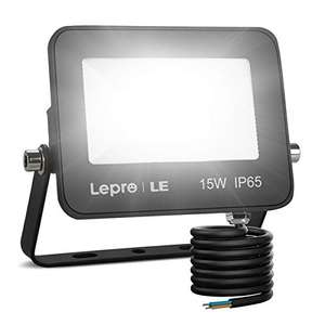 Lepro 15W LED utdoor floodlight 1300 Lumen, IP65 waterproof for £8.79 Prime Exclusive - Sold by Lepro UK and Fulfilled by Amazon