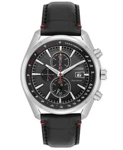 Citizen Men's Eco Drive Watch with Black Dial Analogue Display and Black Leather Strap - £97 @ Amazon Prime Exclusive