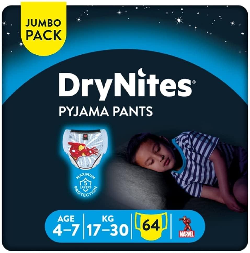 Huggies DryNites Bed wetting Pyjama Pants for Boys, Age 4-7, Mega Pack, (64 Pants) - £17.69 Amazon Prime Exclusive @ Amazon