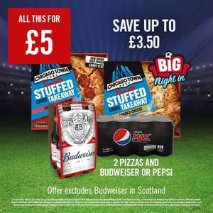 2 x Chicago Town Stuffed Crust Takeaway Pizzas & Pepsi Max 8 Can Pack/Budweiser 4 Bottle Pack is £5 @ The Food Warehouse Iceland